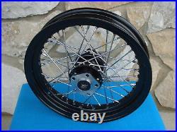 21 & 16 Black Rim Hub 40 Spoke Wheel Set For Harley 1984-99 Dyna Sportster, XL