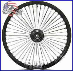 21 3.5 Black 46 Fat King Chrome Spoke Front Wheel Rim Single Disc Harley Softail