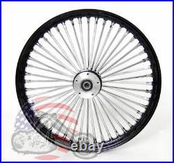 21 x 3.5 48 Fat King Spoke Front Wheel Black Rim Dual Disc Harley Touring Bagger