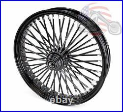 48 King Fat Spoke 21 X 3.5 Front Wheel Black-Out Rim Harley Softail Single Disc
