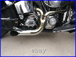 Black 2 into 1 Turnout Header Exhaust Pipe Harley Softail Dyna Chopper Evo Twin