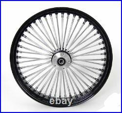 Black & Chrome 48 King Spoke 21 x 3.5 Front Wheel for Harley and Custom Models