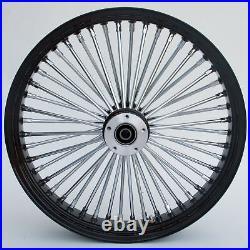 Black & Chrome Ultima King Spoke 21 x 3.5 Front Dual Disc Wheel Harley Custom