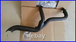 Black High Output 2 into 1 Exhaust Pipe Header Harley Touring Bagger 2007-2016