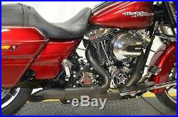 Black High Output Adjustable 2 into 1 Exhaust Pipe Header Harley Touring Bagger