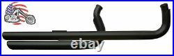 Black Shotgun Drag Exhaust Pipes With Heat Shields 2004-2021 Harley Sportster XL