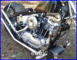 Chrome Upsweep Exhaust Drag Pipe Set Straight Cut Rigid Hardtail Ironhead Harley