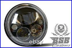 LED SCHEINWERFER 7 mit E und Standlicht schwarz Harley Deluxe Softail Touring