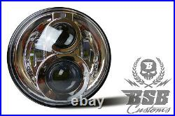 LED SCHEINWERFER 7 mit Zulassung Chrome Harley Davidson Road King BSB Customs
