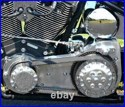 Polished Ultima 2 Old School Open Belt Drive Primary Harley Softail Bobber FXST