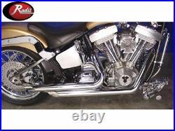 Radii 2 1/4 Chrome Side Slash Style Drag Exhaust Pipes Set Harley Softail FXST