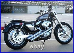 Radii Chrome 2 Viper Sideshots Drag Exhaust Pipes 86-03 Harley Sportster Custom