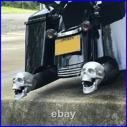 Set of 2 Skull Exhaust Tips evo twin cam shovelhead panhead chopper rat bike A