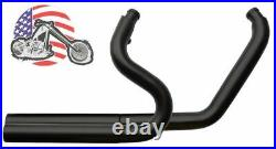 Stepped Black Exhaust Drag Pipes Header Heat Shields Baffles Harley Softail