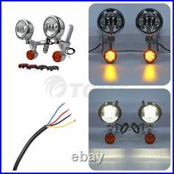 Turn Signal LED Spot Fog Light Bracket For Harley Electra Street Glide FLHX FLHR