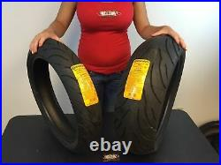 Two New Continental Motion Tires 120/70-17 200/50-17 Sport Bike Motorcycle Set